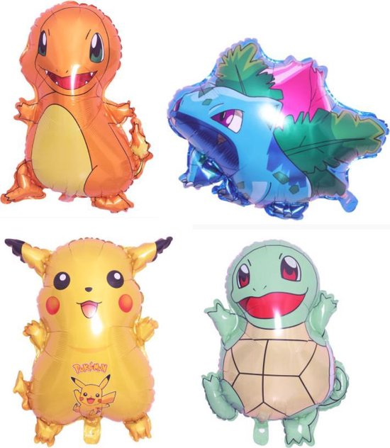 Pokemon ballonnen - XL - Set van 4 -  Folie ballonnen - Pikachu - Charmander - Ivysaur - Squirtle - Helium - Pokemon Go - Leeg - Versiering - Thema feest - Ballonnen - Pokemon