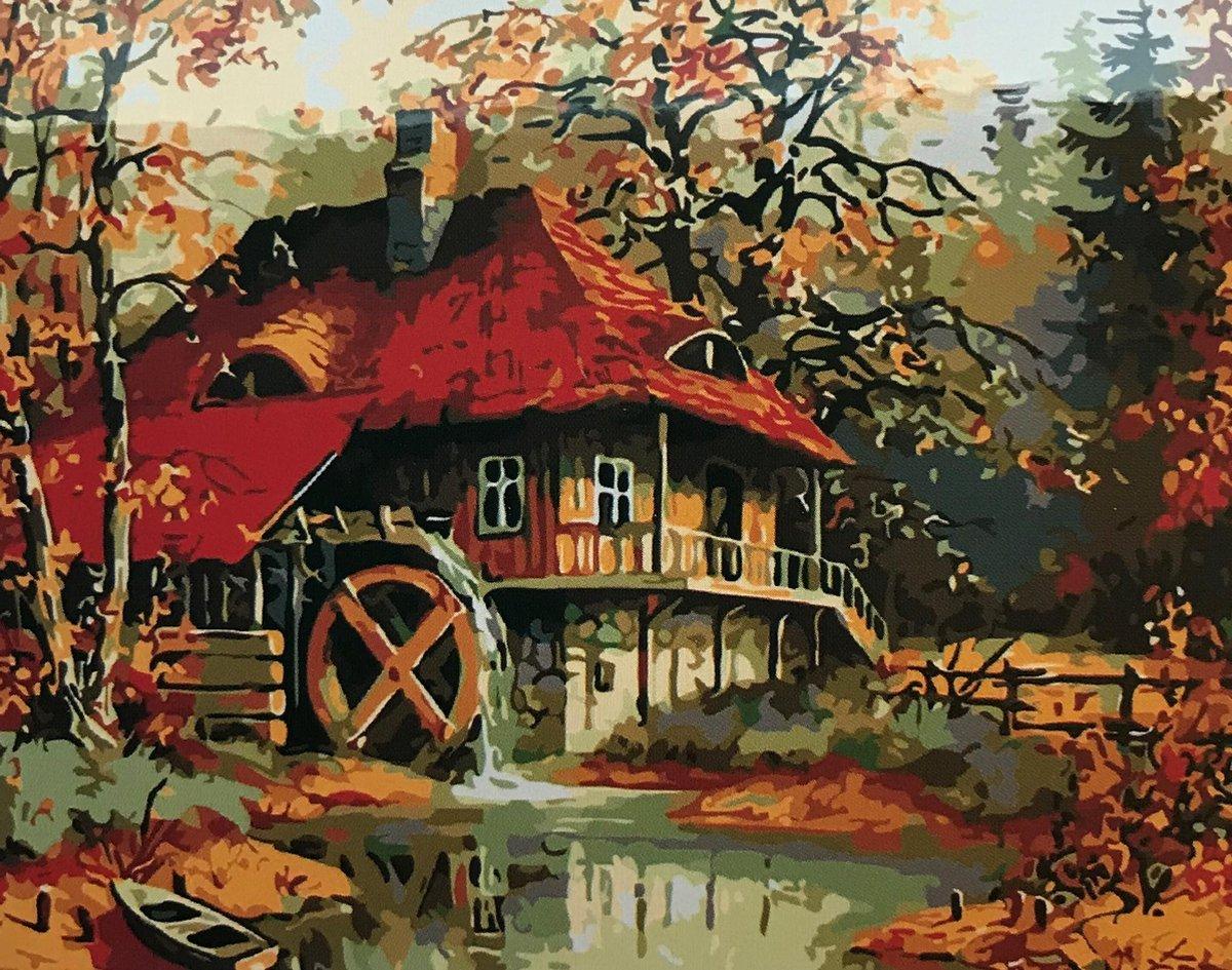 Schilderen op nummer Huis met Waterrad 40x50 zonder frame