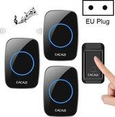 Direct-security CACAZI A10G Eén knop Drie ontvangers Zelfaangedreven draadloze draadloze thuisbel, EU-stekker (zwart)