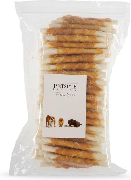 Petstyleliving - Gedraaide sticks met kip - Voordeelzak 100 stuks - Hondensnack