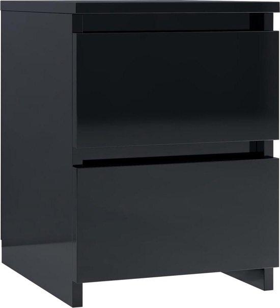 vidaXL Nachtkastje 30x30x40 cm spaanplaat hoogglans zwart