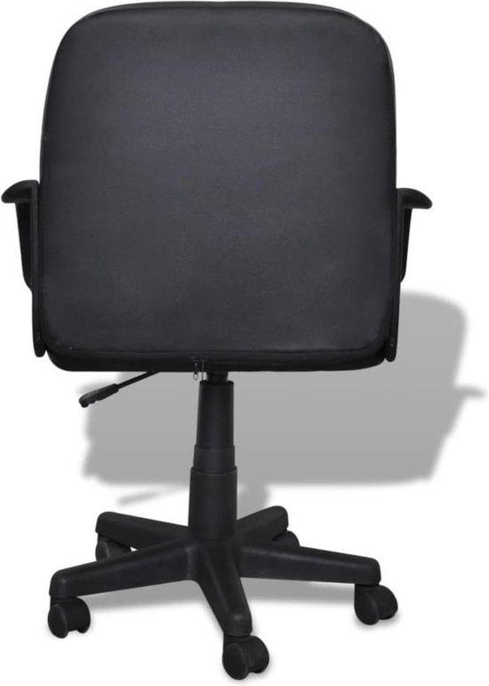 vidaXL Bureaustoel - 59 x 51 x 81-89 cm - Leer - Zwart - vidaXL