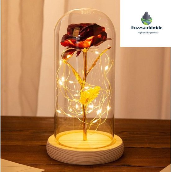 Buzzworldwide® - Gouden roos in glazen stolp met LED - Kerstcadeau- Beauty and the Beast - Uniek cadeau - Valentijn, Trouw & Liefde - Sinterklaas cadeau - Ook voor decoratie - Cadeau voor hem - Cadeau voor haar - Inclusief batterijen
