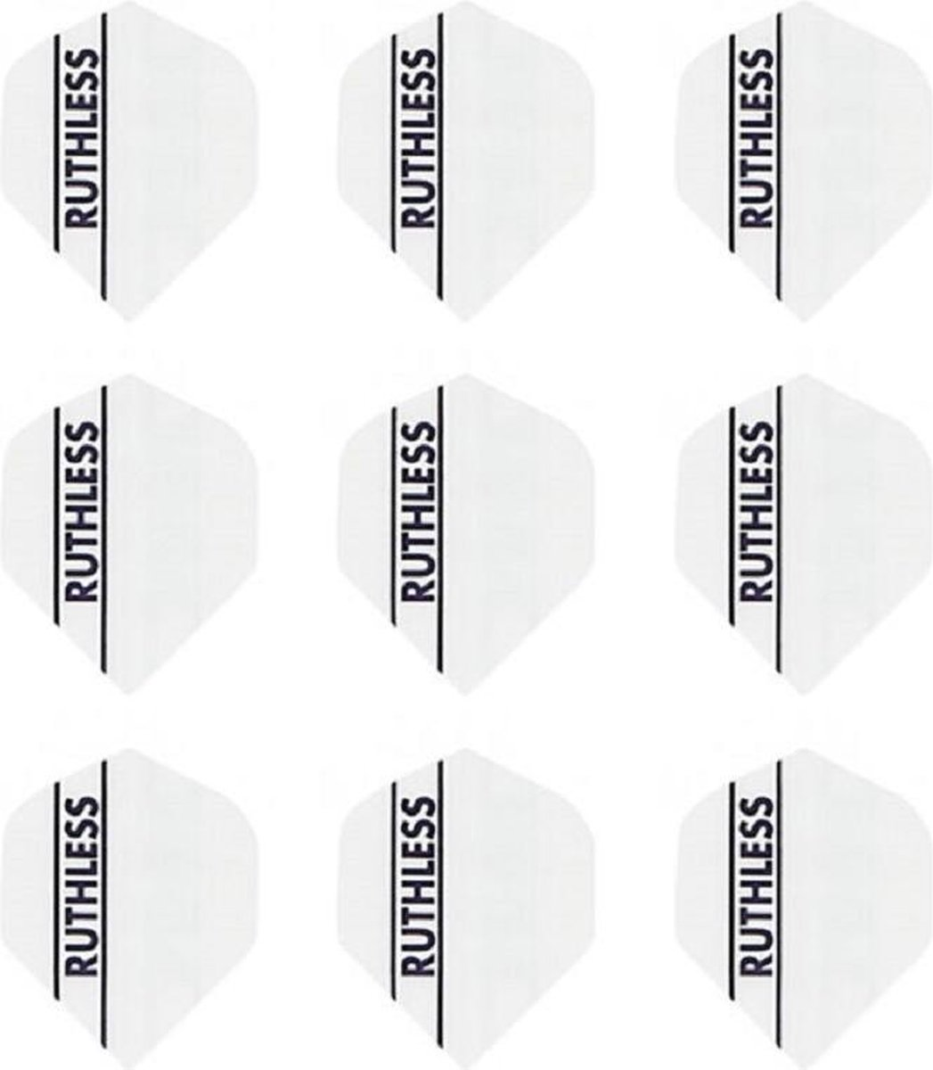 10 sets (30 stuks) Ruthless flights Multipack - Solid White - darts flights