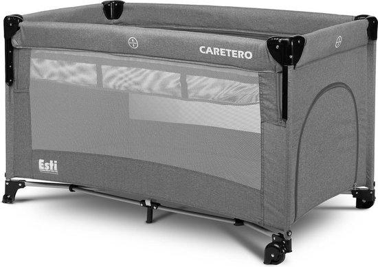 Product: Caretero Esti Campingbed met 2 lagen inklapbaar - co sleeper functie- kinderbed met op wielen GRAPHITE, van het merk Caretero