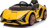 Lamborghini Sian 12V Elektrische kinderauto Accu Auto Rubberen banden, Lerenzitje en MP4 Scherm! (Geel)