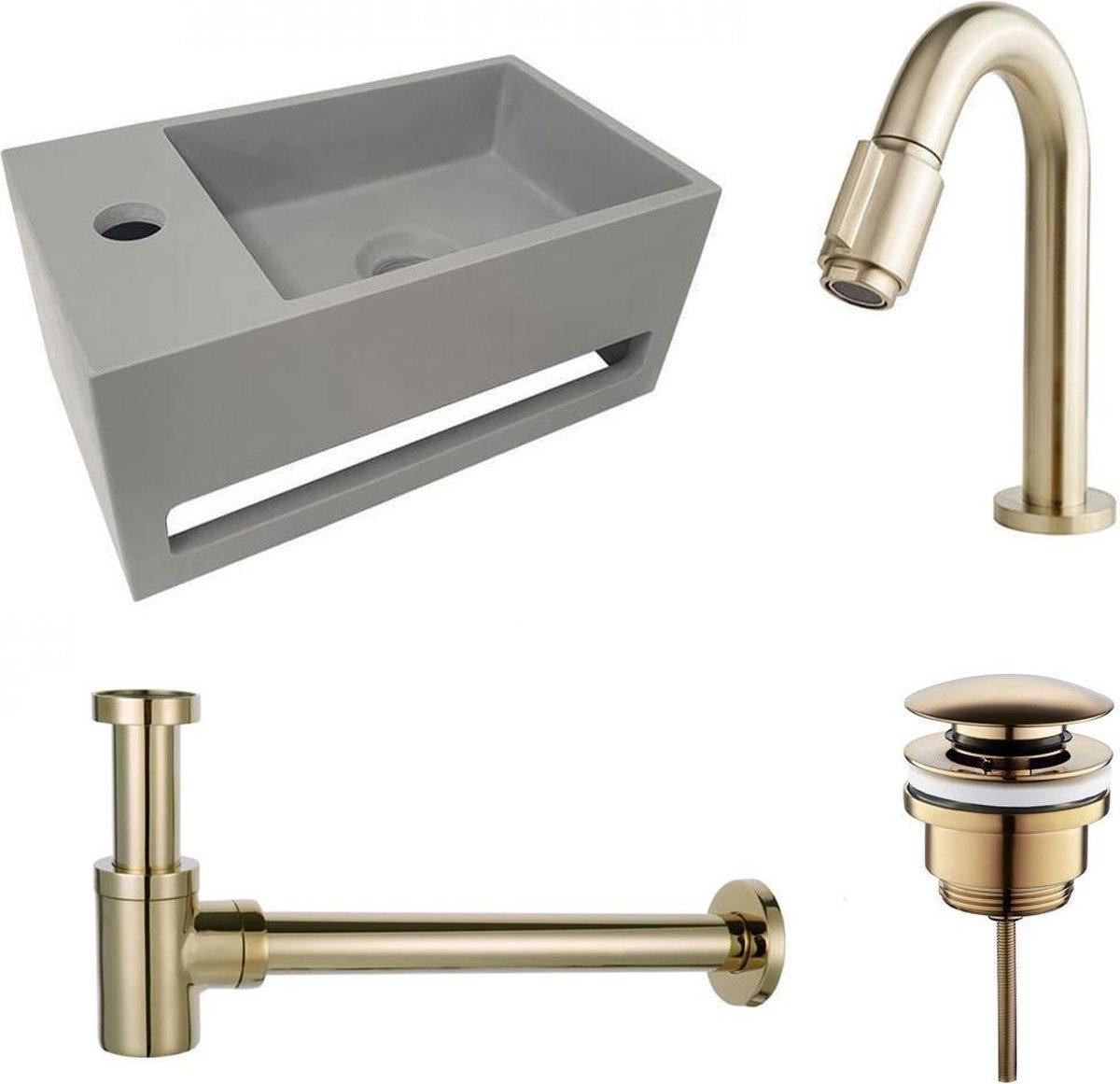Fonteinset S.S. Solid Surface Links 35.6x20.3x15.9cm Toiletkraan Knop Clickwaste Sifon Geborsteld Goud/Betonlook