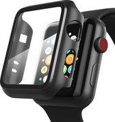 Apple Watch 4/5/6/SE 44 mm Hoesje en Screen protector in 1 Zwart - iWatch 4/5/6/SE 360 graden full body apple case volledige bescherming 44 mm