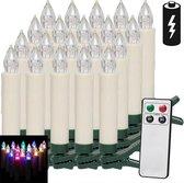 Deuba LED Kerstverlichting Kaarsen 20 Stuks Kerstboomverlichting - Verschillende kleuren  - incl. afstandsbediening met timer en 20 Batterijen