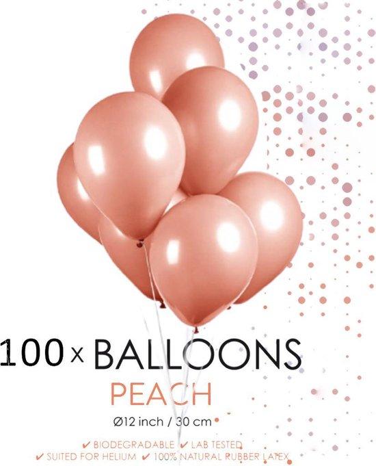 100 ballonnen perzik 12 inch.