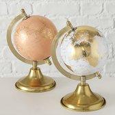 Wereldbol - Oranje - Globe - 24cm - Ø12cm - Goud