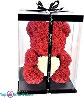 Rode Rozen beer met Wit hart 28cm in Luxe Geschenk Box   Roses Bear Valentine Day giftbox    Rozenbeer met hartje   Knuffel met jou geliefde tijdens Valentijn!   Love Teddybeer   Ik hou van jou / I Love you Knuffelbeer gift box   Roos Beertje hart