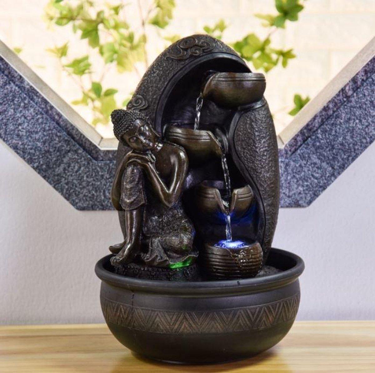 Bouddha Krishna Relax - fontein - interieur fontein - fontein voor binnen - relaxeer - zen - waterornament - cadeau - geschenk - relatiegeschenk - origineel - lente - zomer - lentecollectie - zomercollectie - afkoeling - koelte