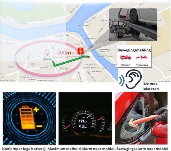 GPS tracker – Zonder Abonnement – Geschikt Alle Voertuigen – Vrachtwagen - Auto – Motor - Scooter - Waterdicht - Afluisterfunctie