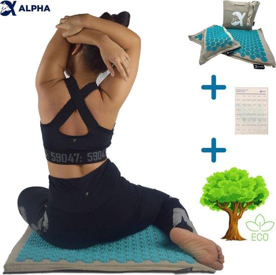 Spijkermat Acupressuur Fitness Yoga Massage Mat Massage Kussen - Turquoise Acupunctuur Mat inclusief Kussen en Opbergtas - Eco-vriendelijk Materiaal - Alpha