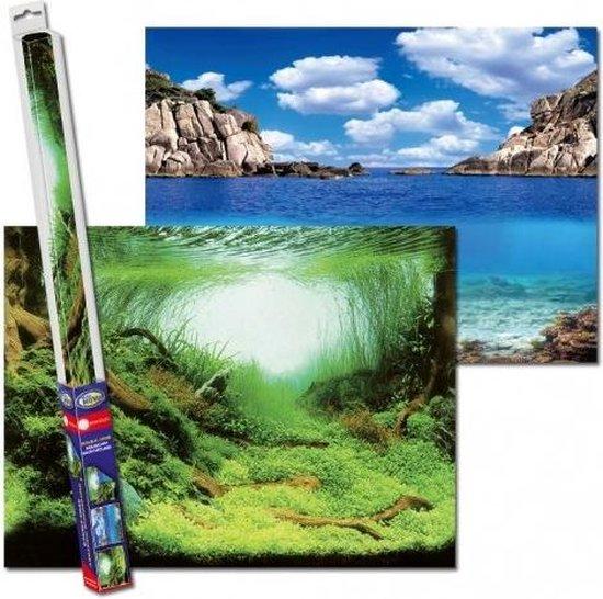 Aquarium achterwand poster   Planten en oceaan motief (150x60cm)