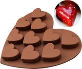 Ijsblokjes vorm - Hart chocoladevorm - Siliconen bakvorm - 10 hartjes - Mal voor muffin en cupcakes - Hartvorm - Ijsblokjeshouder hartjes - Bruin