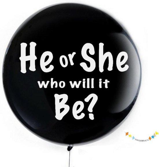 Babyversiering.nl - XXL Gender Reveal Ballon - Zeer groot (91CM) - Blauwe en roze confetti - geslachtsbekendmaking - geslachtsonthulling - zwangerschap - in verwachting - Jongen of meisje - zoon of dochter