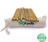 Bamboe rietjes - 15 stuks - zero waste bamboo straws - duurzaam - milieuvriendelijk - alternatief voor plastic rietjes - inclusief 2 schoonmaakborsteltjes en 1 opberg / meeneemzakje - Tiny Panda