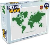 Puzzel 500 stukjes Eigen wereldkaarten 4-3 - Wereldkaart modern groen  - PuzzleWow heeft +100000 puzzels