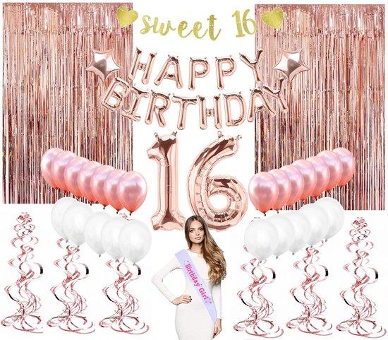 Perow XXL Sweet 16 Ballonnen pakket - Rosé Gouden Ballonnen Set - Verjaardagsfeest - Luxe complete set - Ballonnen - Happy Birthday