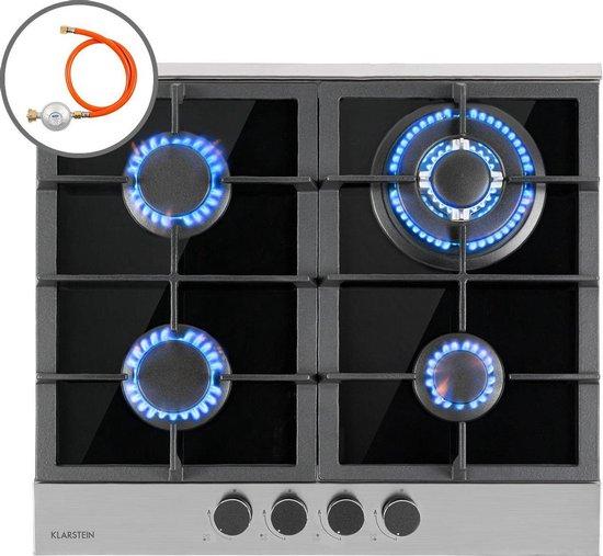 Klarstein Alchemist gaskookplaat 4 zones - 58,3 x 11 x 52 cm - geringe energiekosten - 4 aluminium pitten - glaskeramiek - zwart