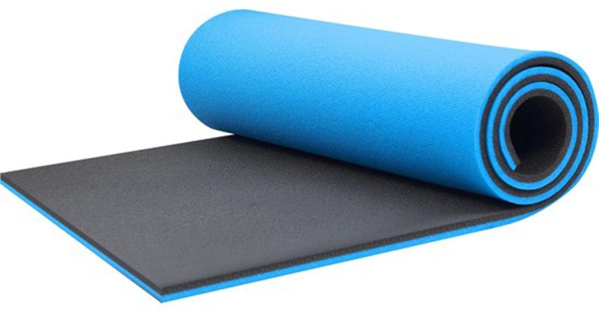 Yogamat - Fitness Mat - 10mm - Blauw - Extra Dik - Pilates Mat - Sport Mat