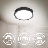 B.K.Licht - Plafondlamp - plafoniere - zwart mat - Ø25cm - 4.000K - 1.200 lumen - 12W LED