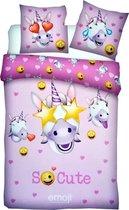 Nieuw 2021 Emoji Eenhoorn Unicorn Dekbedovertrek 140x200 cm - Roze Meisjes Dekbed met Flessenhals instopstrook - Dekbedhoes Emoji Iconic Bedset
