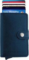 Statch Portemonnee Luxe Uitschuifbare Pasjeshouder van Aluminium & Leer - Creditcardhouder / Kaarthouder voor mannen en vrouwen - Anti-Skim / RFID Card Protector tot 13 Pasjes - Blauw