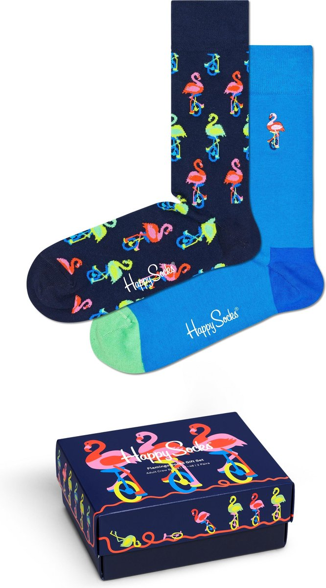 Happy Socks XFLA02-6500 Flamingo Two Pack Gift Box - Maat 41-46