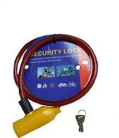 Duo Commerce fiets slot - Met 2 sleutels - Ijzer draad kleur; Rood - Unisex beveiliging Fietsslot
