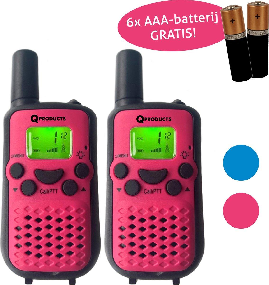 Qproducts Walkie Talkie Voor Kinderen en Volwassenen - Portofoon - Tot 5KM Bereik - Lichtfunctie - Incl 6 Batterijen - ROOS