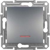 Schneider Electric Asfora Serie - Schakelmateriaal - Wisselschakelaar-Inbouw - Met Verlichting - GRIJS - Steekverbindingen voor snelle afwerking