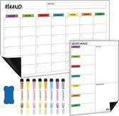 RX Goods® Premium Magnetische Maandplanner Whiteboard Set met 8 Markers & Wisser – Incl. Weekplanner