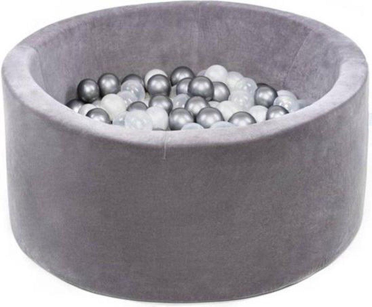 Ballenbak XL rond 90x40 velvet grijs Misioo, incl. 150 ballen transparant, pearl, zilver