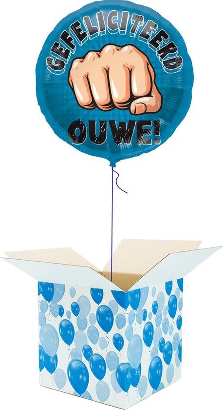 Helium Ballon Verjaardag gevuld met helium - Gefeliciteerd Ouwe! - Cadeauverpakking - Folieballon - Helium ballonnen verjaardag