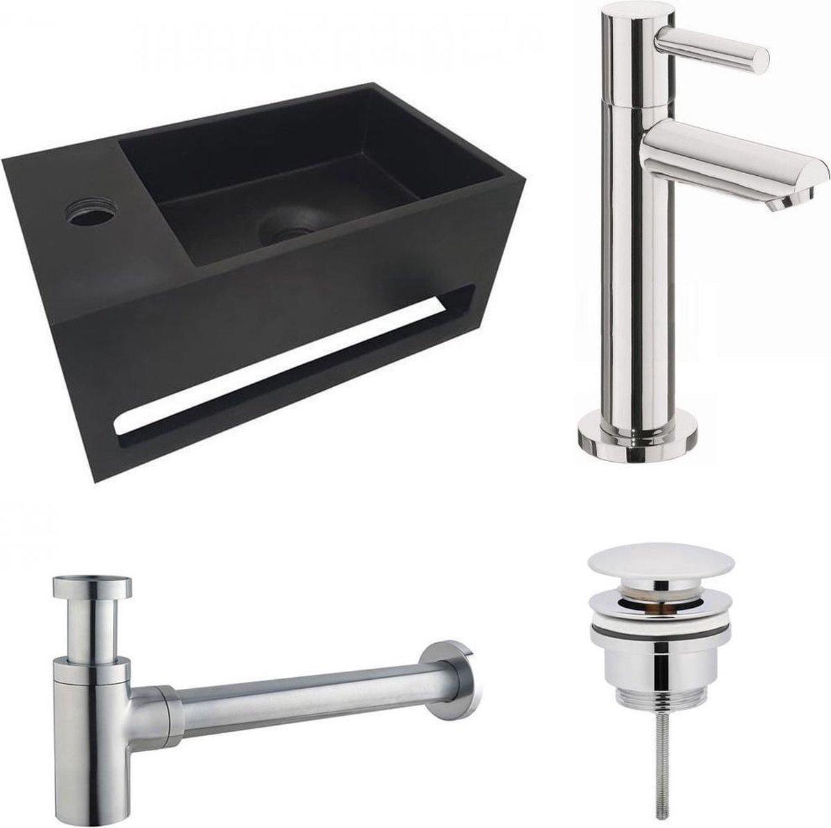 Fonteinset S.S. Solid Surface Mat Zwart Links 35.6x20.3x15.9cm Toiletkraan Hendel Clickwaste Sifon Chroom