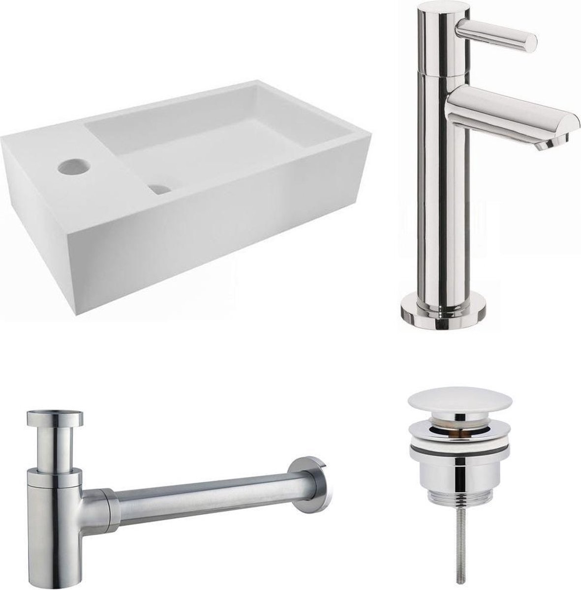 Fonteinset Nila Solid Surface Links Mat Wit 40x22x10cm Toiletkraan Hendel Clickwaste Sifon Chroom