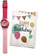 Verjaardag Horloge 16 jaar - THE ORIGINAL – Happy Birthday Watch  + Wenskaart Happy Birthday