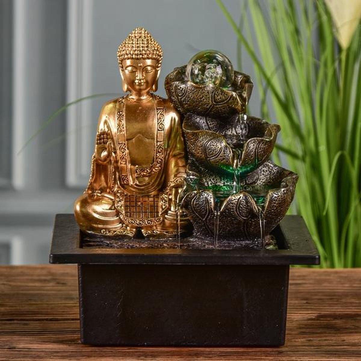Boeddha Arya Relax - fontein - interieur - fontein voor binnen - relaxeer - zen - waterornament - cadeau - geschenk - relatiegeschenk - origineel - lente - zomer - lentecollectie - zomercollectie - afkoeling - koelte