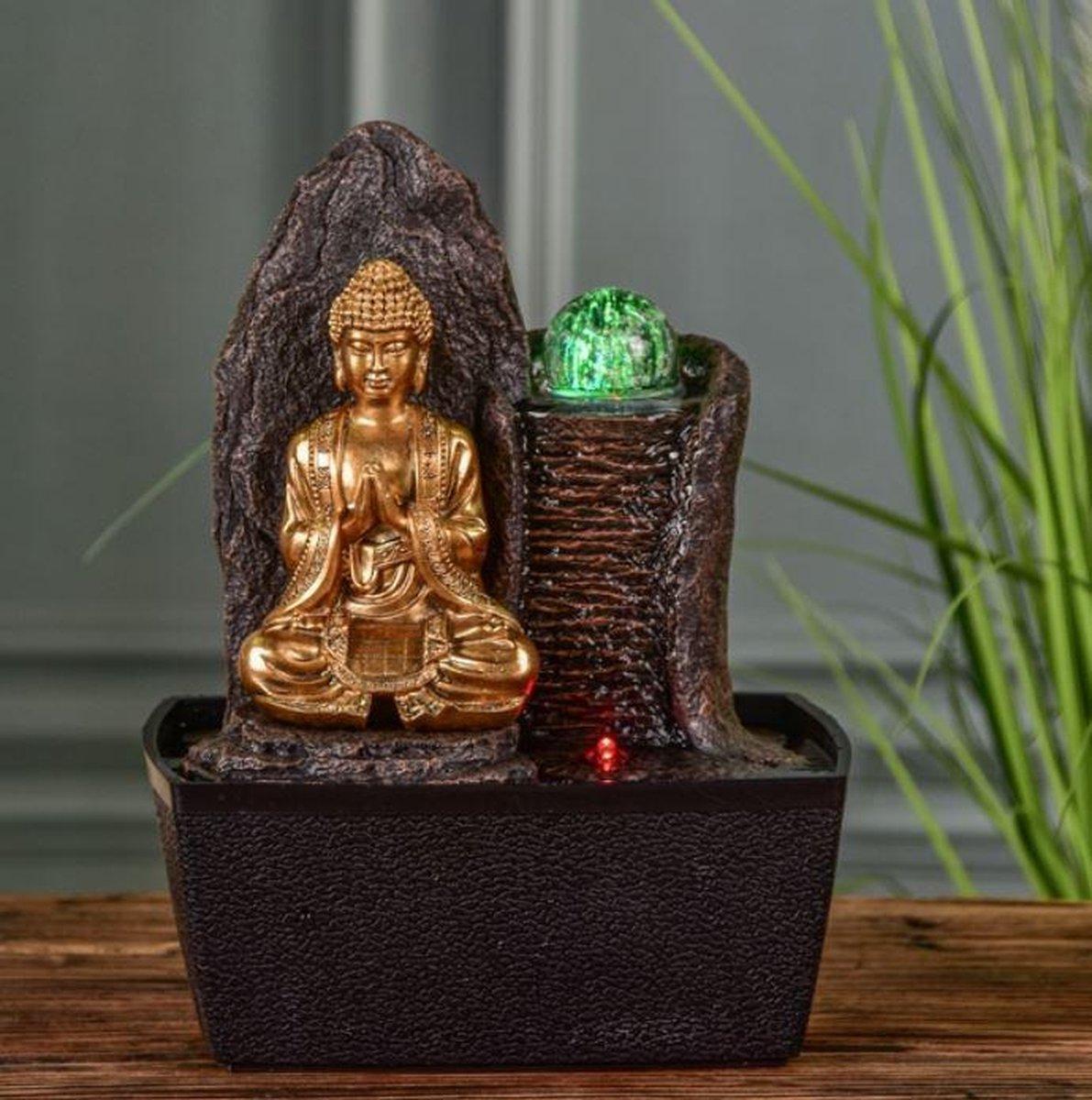 Boeddha Haka Relax - fontein - interieur - fontein voor binnen - relaxeer - zen - waterornament - cadeau , geschenk - relatiegeschenk - origineel - lente - zomer - lentecollectie - zomercollectie - afkoeling - koelte