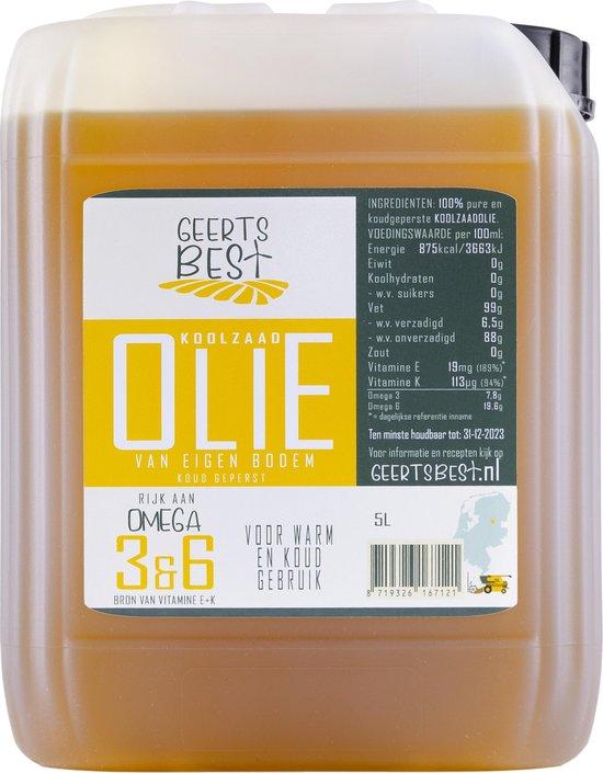 Geerts Best Koolzaadolie 5 liter - Rijk aan omega 3+6 en koud geperst (van Nederlandse bodem)