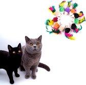Make Me Purr Fluffy Muizen met Veer (10 stuks) - Kattenspeeltjes - Kattenspeelgoed - Speelgoed voor Katten - Kat Speeltje Muis - Kitten Speeltjes Muisjes