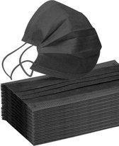 50 stuks -  zwarte wegwerp mondkapjes - 3 laags - gezichtsmaskers met witte filter