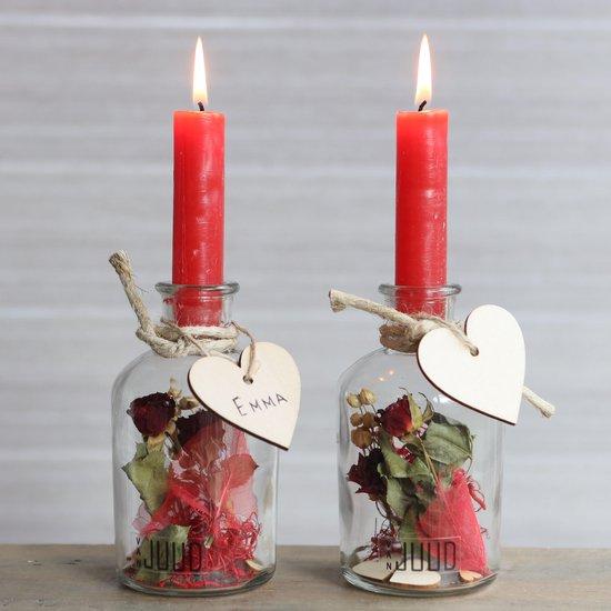 Bol Com Droogbloemen In Glas Met Rode Kaarsen En Blanco Hartje Valentijn Decoratie