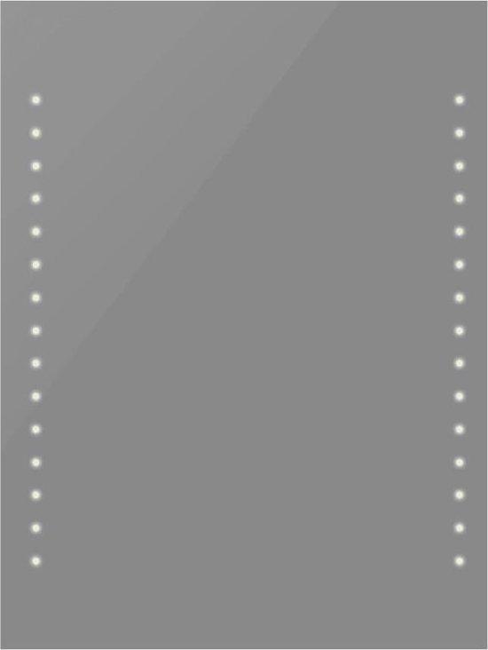 vidaXL - Badkamerspiegel met LED verlichting - Spiegel - Glas - 60x50 cm - Transparant
