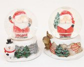 Sneeuwbol Kerstman Set van 2 stuks 5x5x6.5cm Ook leuk als gastenbedankje - Wit   Rood