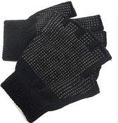 Vingerloze handschoenen met grip unisex kleur zwart maat M / L