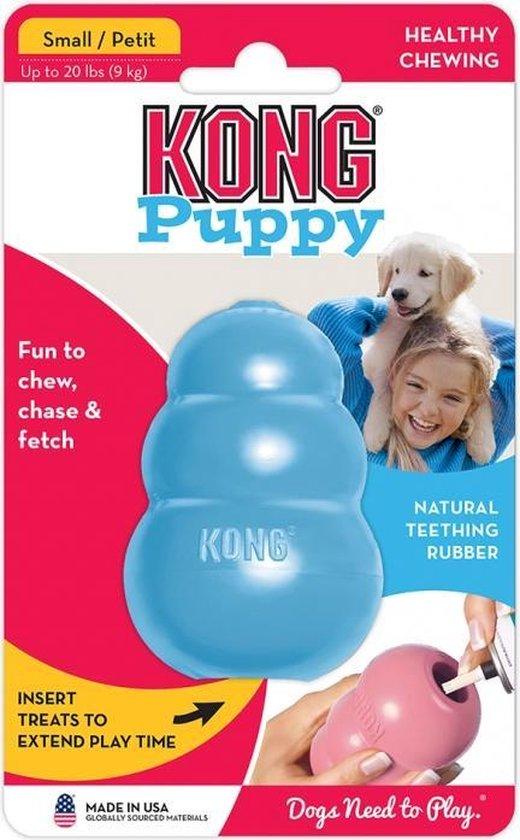 Kong Puppy - Kauwbot Hondenspeelgoed Small - Kauwbot - 72mm x 42mm - Blauw